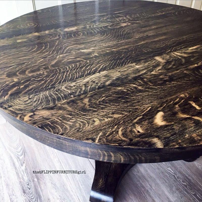 Black Gel Stained Tiger Oak Antique Table General
