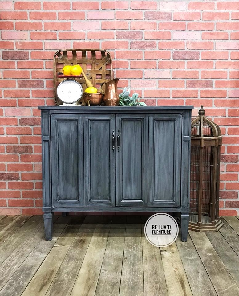 General Finishes Gel Stain Pint Or Furniture Oil Topcoat: Buffet In Gray Gel Stain W/ Pitch Black Glaze Effects