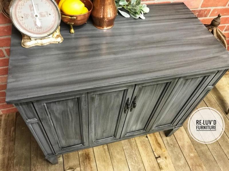 Buffet In Gray Gel Stain W Pitch Black Glaze Effects