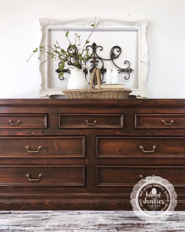 Knotty pine dresser in custom gel stain color general
