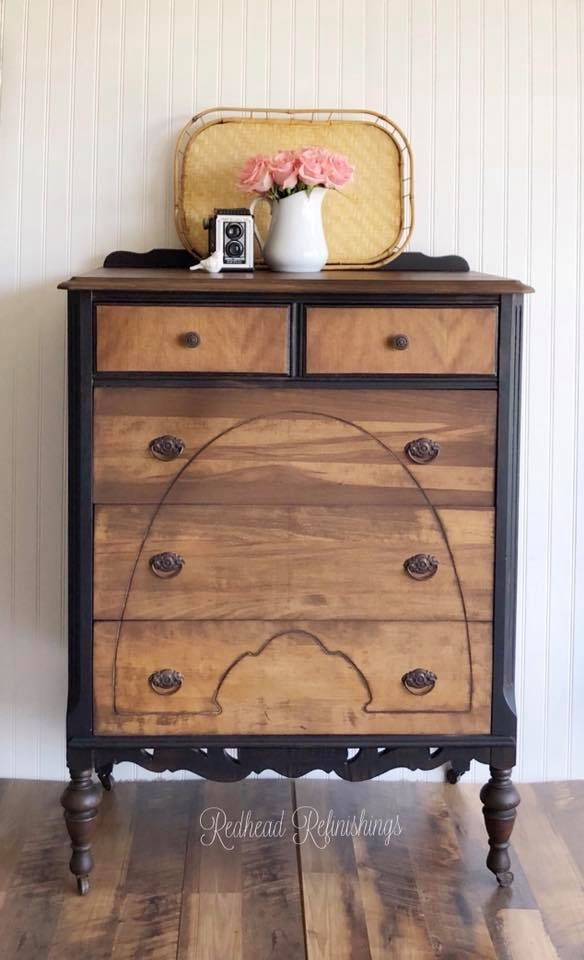 Antique Dresser In Walnut Lamp Black General