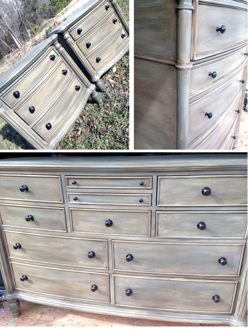 Custom distressed gray bedroom set general finishes - Distressed wood bedroom furniture ...