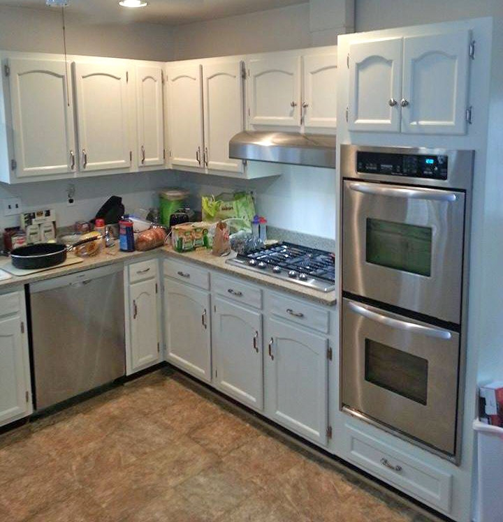 Kitchen cabinets painted in antique white milk paint for Best latex paint for kitchen cabinets