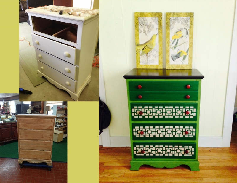 Dresser In Emerald And Lime Green Milk Paints