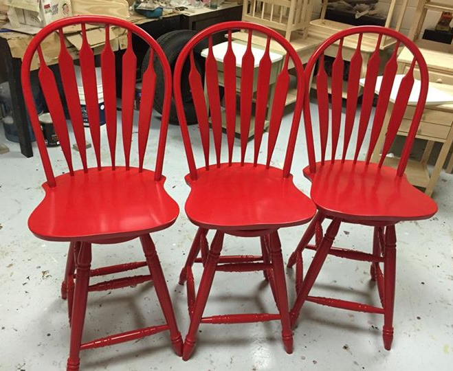 Bar Stools In General Finishes Holiday Red Milk Paint