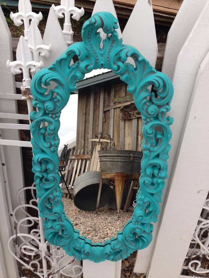 Custom Mix Of Patina Green And Corinth Blue Mirror With