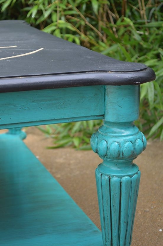 End Table In Patina Green And A Chalkboard Top General
