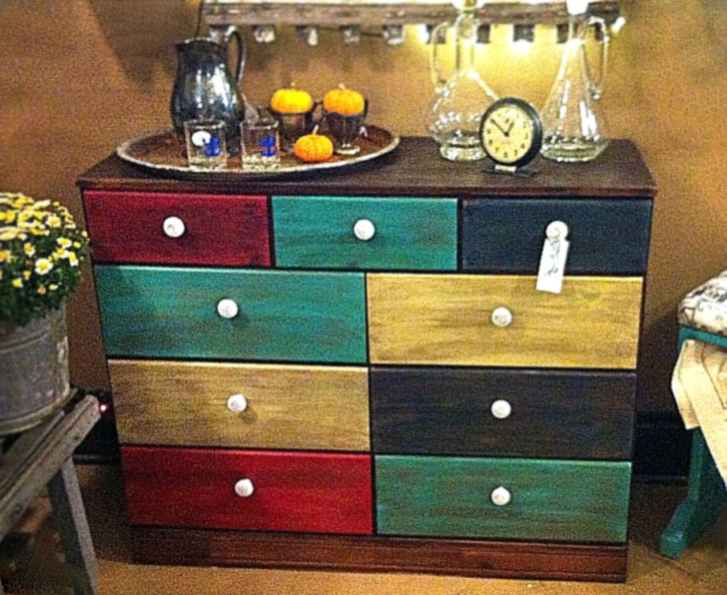 Multicolored Beachy Cottage Buffet General Finishes