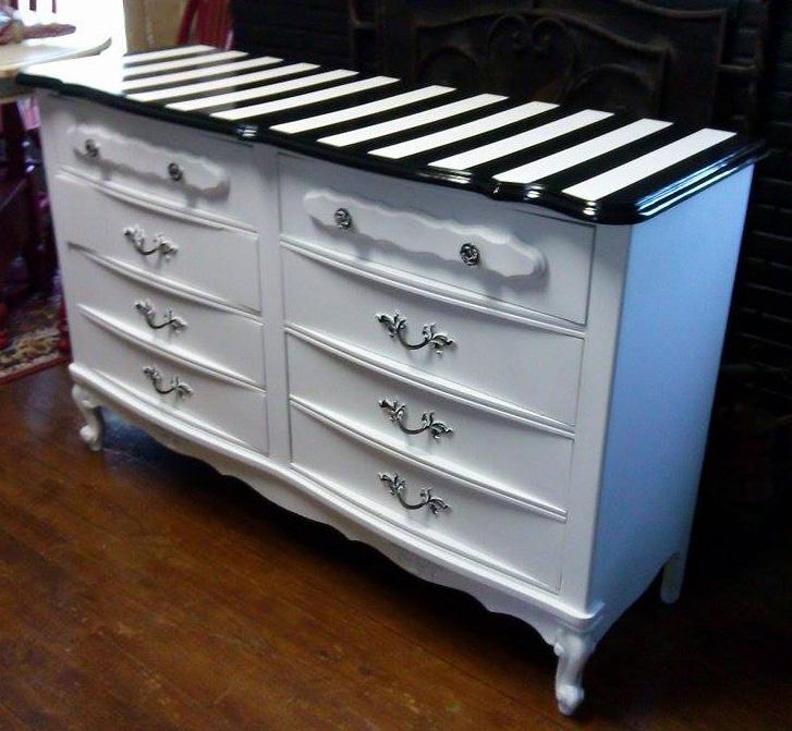 white and black striped dresser general finishes design center. Black Bedroom Furniture Sets. Home Design Ideas