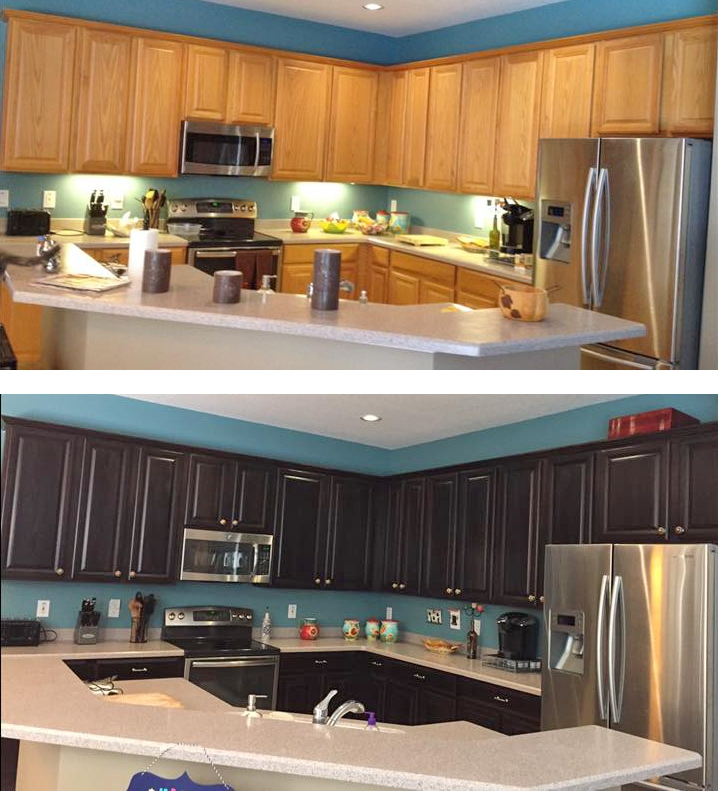 Gel Stain Kitchen Cabinets Espresso: Espresso Water Based Wood Stain Kitchen Transformation