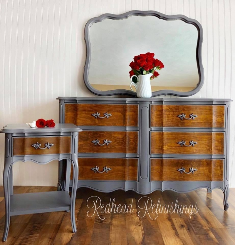 French Provincial Nightstand Amp Dresser Set In Driftwood