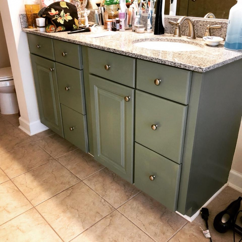 Double Vanity In Basil Milk Paint General Finishes