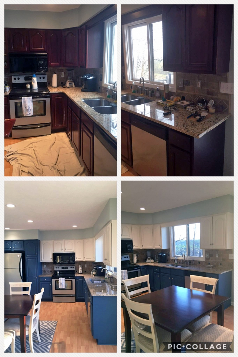 Is Mixing Kitchen Cabinet Finishes Okay Or Not: Kitchen Cabinet Makeover In GF Custom Mixed Milk Paint
