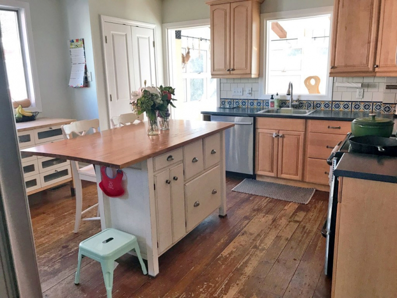 Kitchen cabinet makeover custom mix of antique and snow for White milk paint kitchen cabinets
