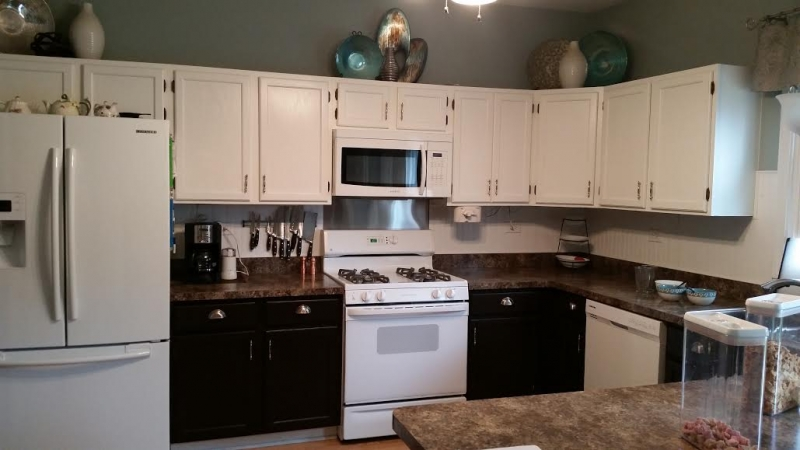 Custom mixed gel stained kitchen cabinets general for White kitchen cabinets turning yellow