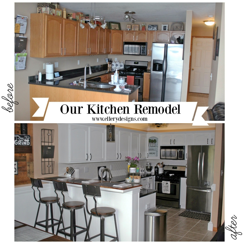 Snow white milk paint kitchen transformation general for White kitchen cabinets turning yellow
