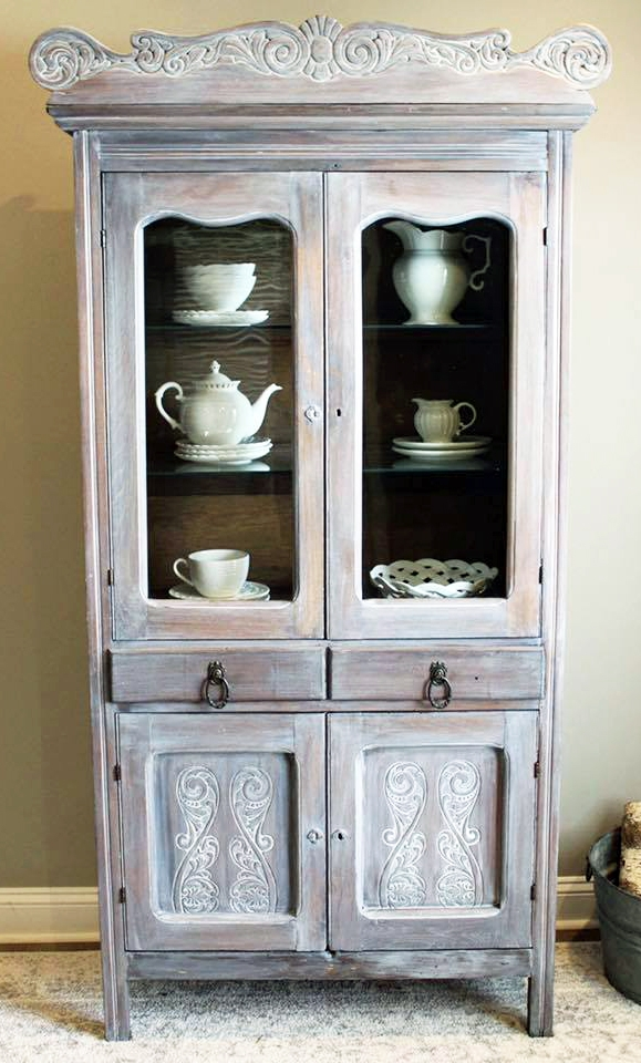 Winter White Glazed Antique Pie Safe General Finishes