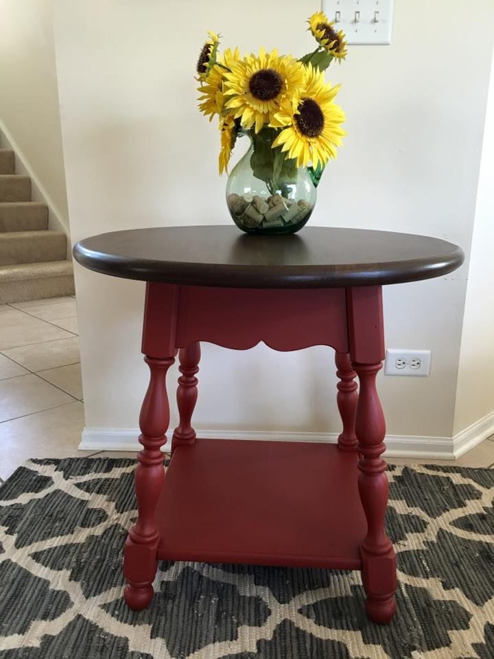 Accent Table In Brick Red Milk Paint And Antique Walnut Gel Stain
