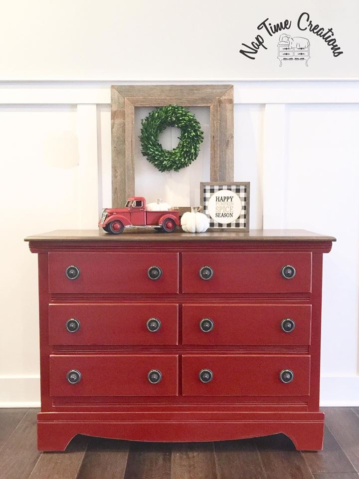 Dresser Distressed In Brick Red Milk Paint