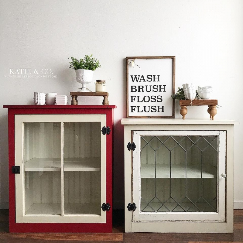 Custom Antique White Kitchen Cabinets: Custom Cabinets In Holiday Red & Antique White