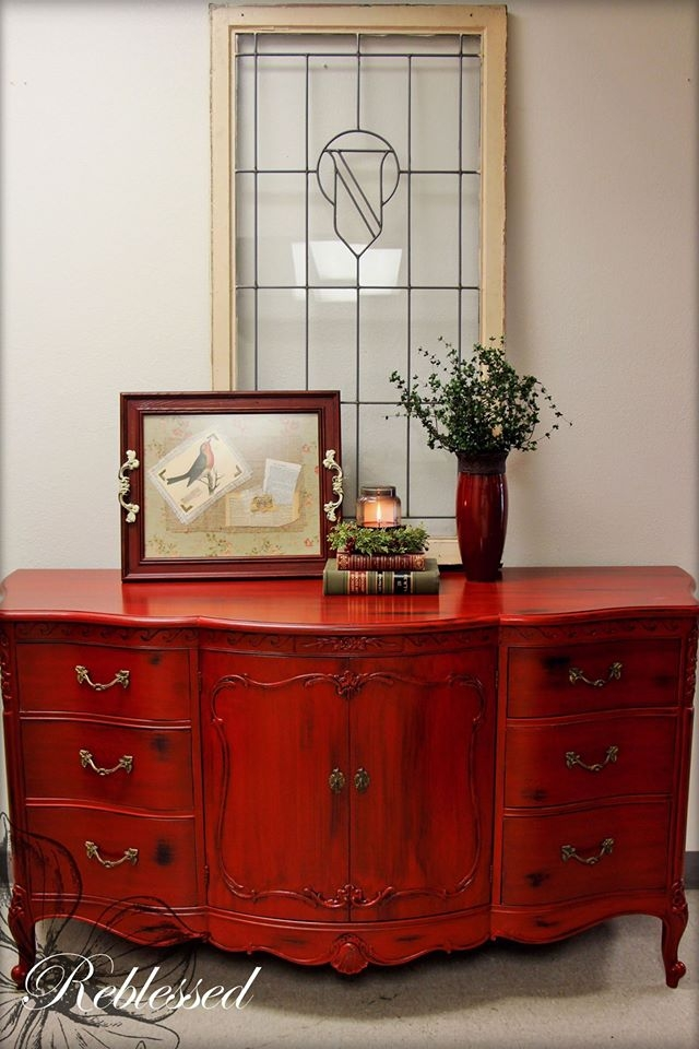 Buffet In Brick Red Milk Paint And Black Glaze