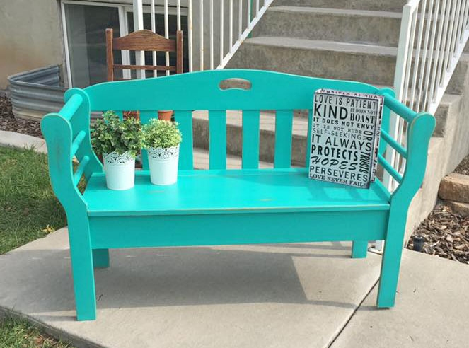 Bench In Patina Green Milk Paint. Bold Fish Furniture ...