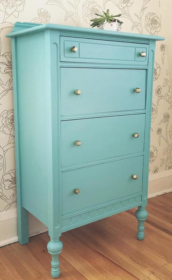 Custom Mixed Turquoise Dresser General Finishes Design