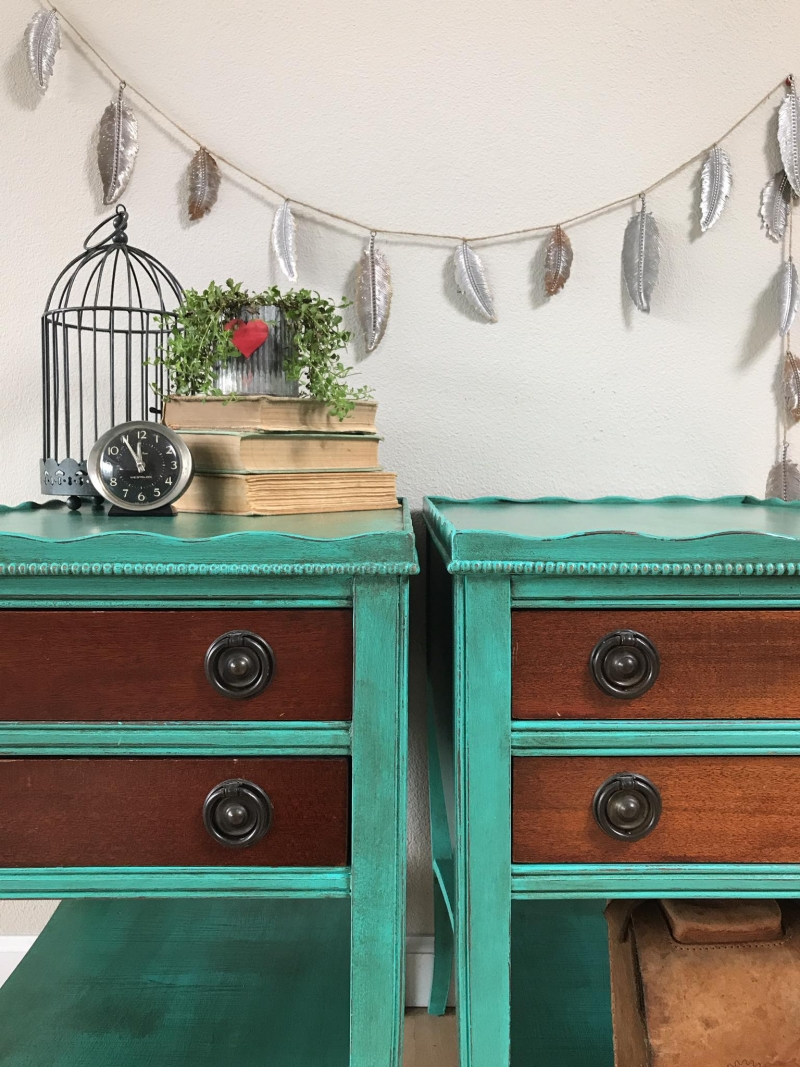 Boho Styled Nightstands In Patina Green General Finishes