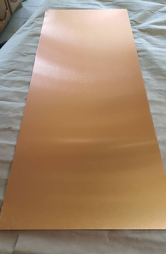 Copper Metal Table Top With Inking Techniques General