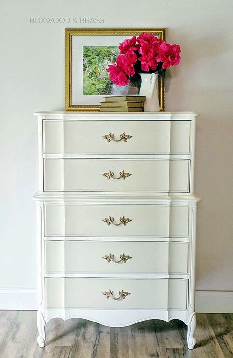 Two Tone Dresser In Antique White Amp Linen Milk Paint