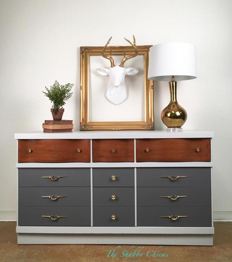 Mid Century Modern Dresser In Seagull Gray Amp Driftwood