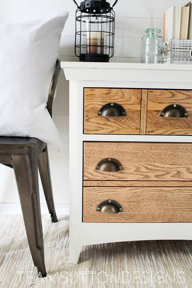 Rustic Oak End Table In Antique White