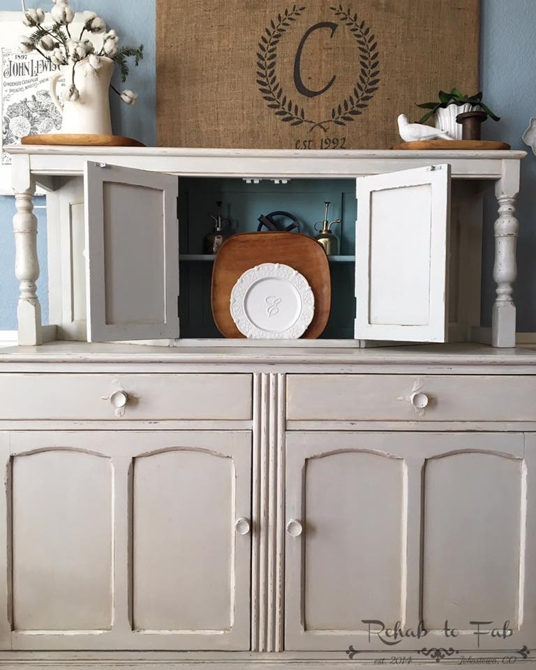 Antique English Court Cupboard In Seagull Gray Amp Antique