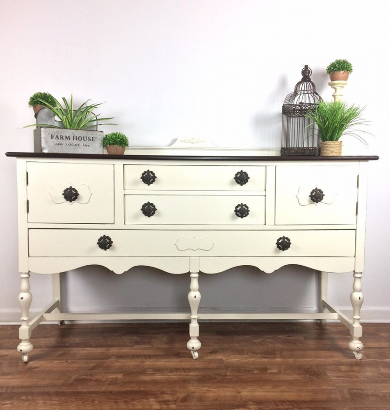 General Finishes Gel Stain Pint Or Furniture Oil Topcoat: Farmhouse Style Buffet In Antique White