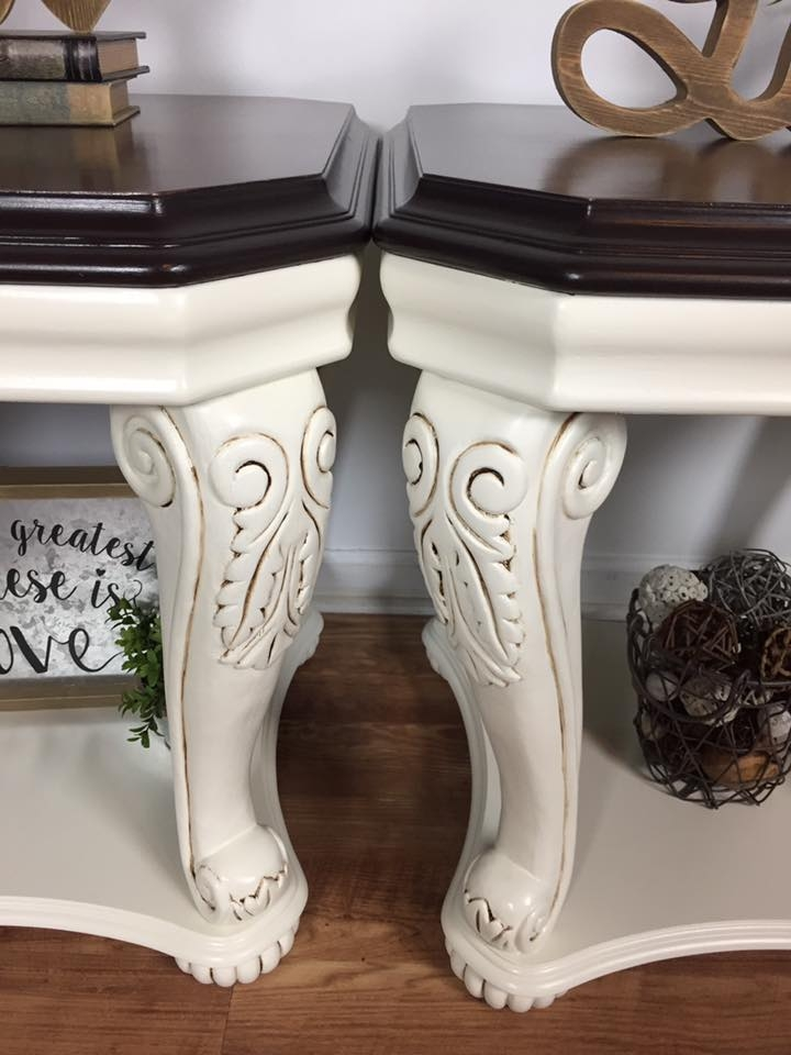 Classy End Tables In Antique White Amp Java Gel Stain