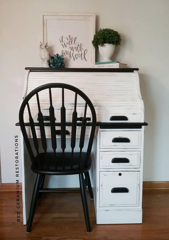 Roll Top Desk In Snow White Lamp Black General Finishes Design Center