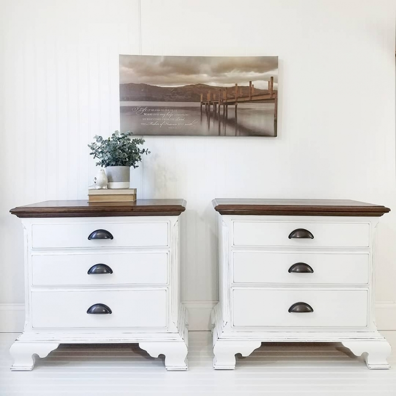 Farmhouse Nightstands In Snow White General Finishes