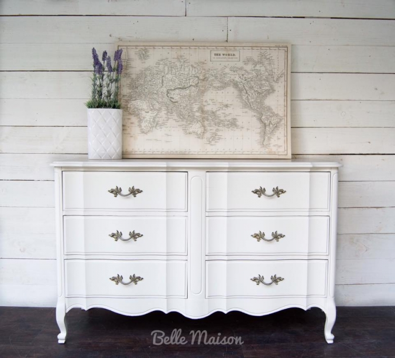 French Provincial Dresser In Antique White Milk Paint