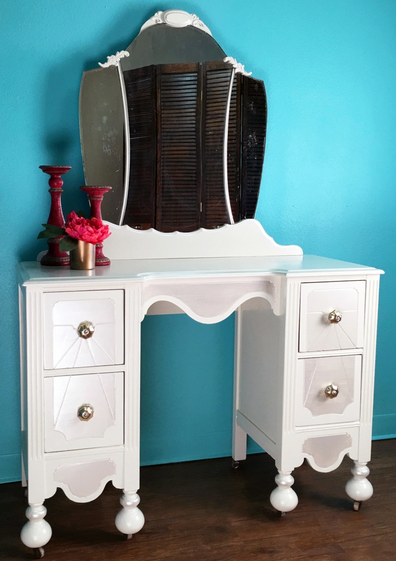 Antique White And Champagne Pearl Effects Vanity General