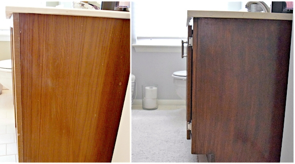 Antique Walnut Bathroom Vanity Makeover General Finishes