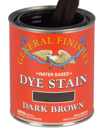 General Finishes Water Based Dye Stain, Quart, Dark Brown