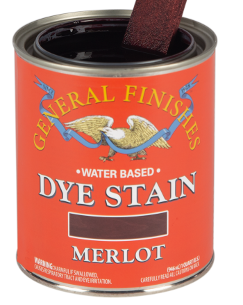 General Finishes Water Based Dye Stain, Quart, Merlot