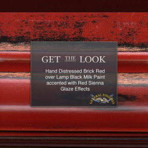 Get The Look Brick Red Hand Distressed Over Lamp Black Milk Paint Accented With Sienna Glaze
