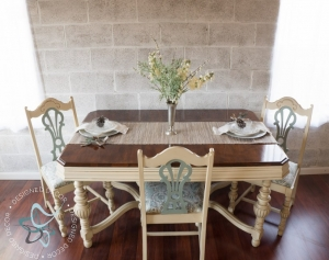 Sexy Dining Table Set In Milk Paint Gel Stain
