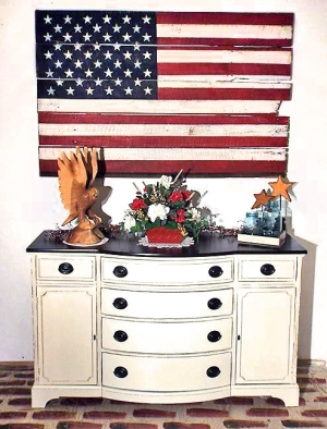Vintage Bow Front Buffet In Antique White With Custom American Flag