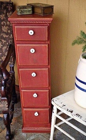 Tall Chest In Tuscan Red Milk Paint