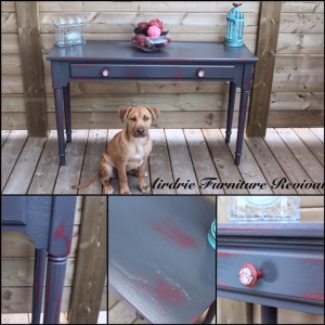 Holiday Red Under Queenstown Gray Milk Paint Table