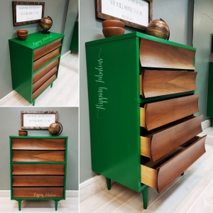 Emerald And Antique Walnut Dresser