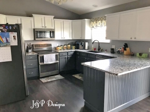 Snow White And Queenstown Gray Kitchen Cabinets.