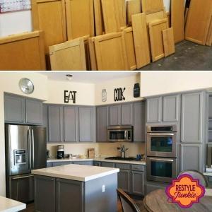Custom Mixed Gray Kitchen Cabinets